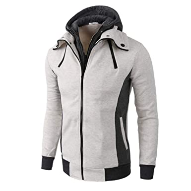 Manadlian Herren Mantel Hooded Sweatshirt Mit Reißverschluss Männer  Winterjacke Herbst Winter Lange Ärmel Jacke Warm Kapuzenpullover 48186e227a