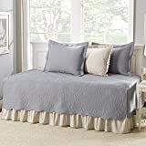 5 Piece Grey Floral Daybed Cover Set, Geometric Coastal French Country Shabby Chic Motif Flower Design Pattern Day Bed Bedskirt Pillows, Polyester