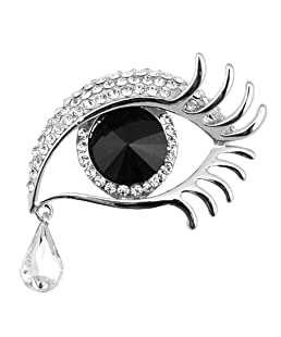 Dylandy Brooches Women Brooch Pins Vintage Crystal Brooch Buckle Angel's Tears Brooches For Wedding Party Christmas Decoration Gifts (Silver Edge+Black Eye)
