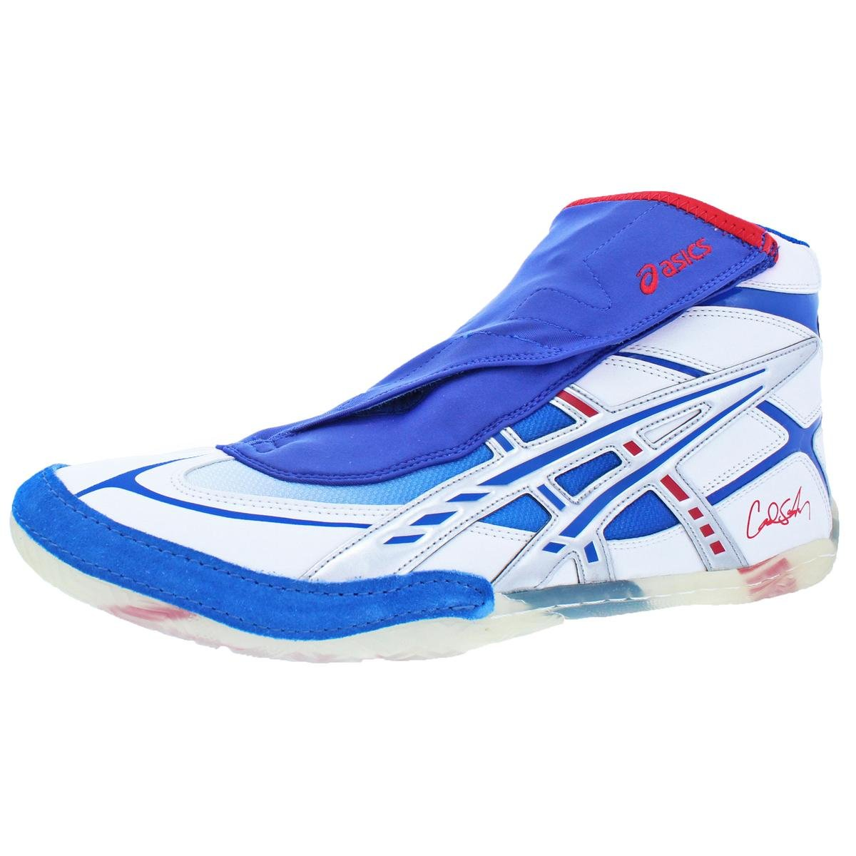 ASICS Men's Cael Wrestling Shoe, White/Blue/Red, 15 M US