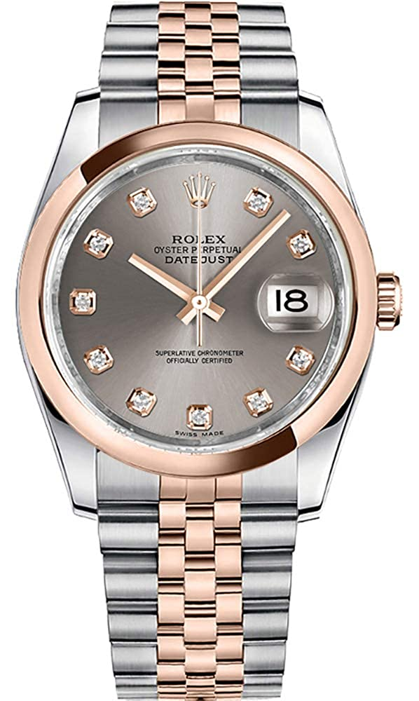 Women's Rolex Datejust 36 Rose Gold Bezel Diamond Watch (Ref: 116201)