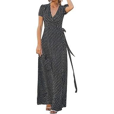 838b9451c363 kemilove 2019 New The Fashion Women's Summer Top V-Neck Split Fork Wave Dresses  Black