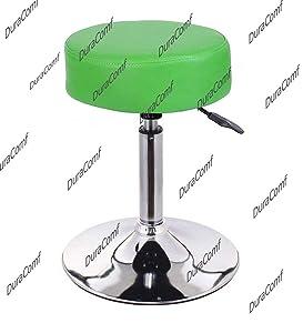 DuraComf Chromium Steel Revolving Stool with Cushion (Standard, Green)