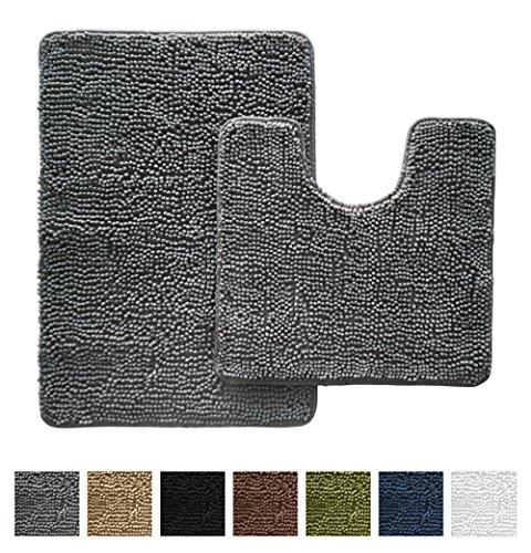 Gorilla Grip Original Shaggy Chenille Bathroom 2 Piece Rug Set Includes Mat Contoured for Toilet and 30 x 20 Carpet Rugs, Machine Wash/Dry, Perfect Plush Mats for Tub, Shower, and Bath Room (Gray)