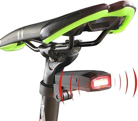 Bicicleta Luz Trasera Inteligente antirrobo Bike Alarma LED USB ...