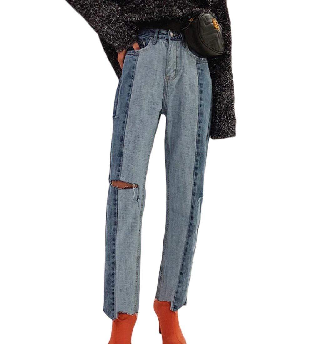 Womens Straight Leg Ripped Irregular Vogue Leisure Jeans Pants XS