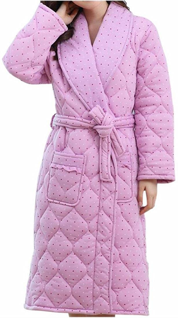 3 GAGA Women's Casual Quilted Thick Print Lapel Pockets Homewear Robe