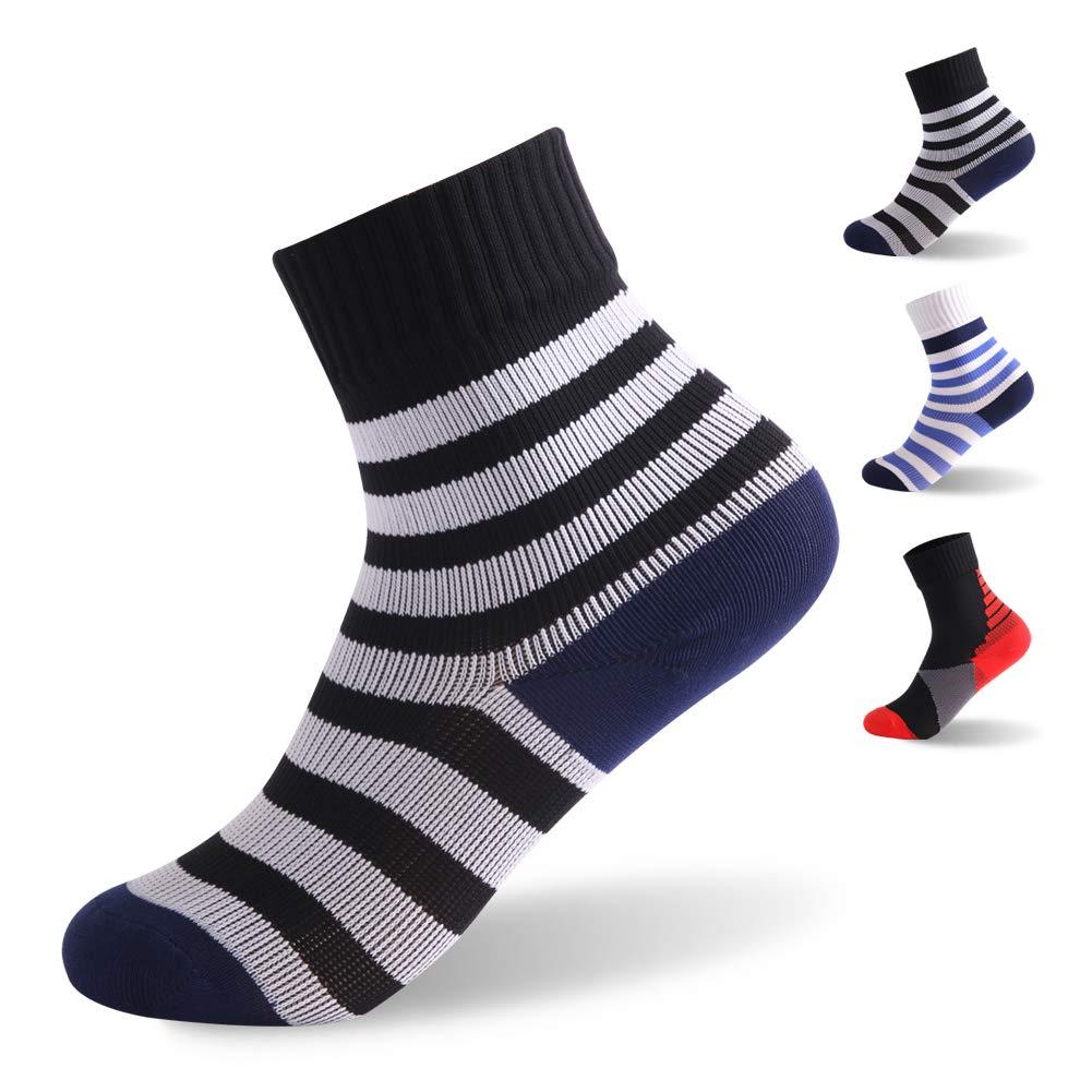 RANDY SUN Boys Ski Socks, Boys Waterproof Breathable Outdoor Skiing Golf Mid-Calf Stripe Soft Team Socks 1 Pair Black and White 4-6 Years by RANDY SUN