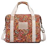 Malirona Ladies Women Canvas Travel Weekender Overnight Carry-on Shoulder Duffel Tote Bag Bohemian Flower (Red Flower)