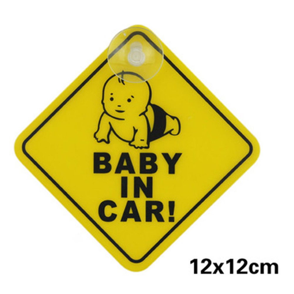 DERKOLY Baby on Board Car Warning Sign Safety Sticker for Daddy and Mommy Suction Cup Sticker Waterproof Notice Board for Automobile