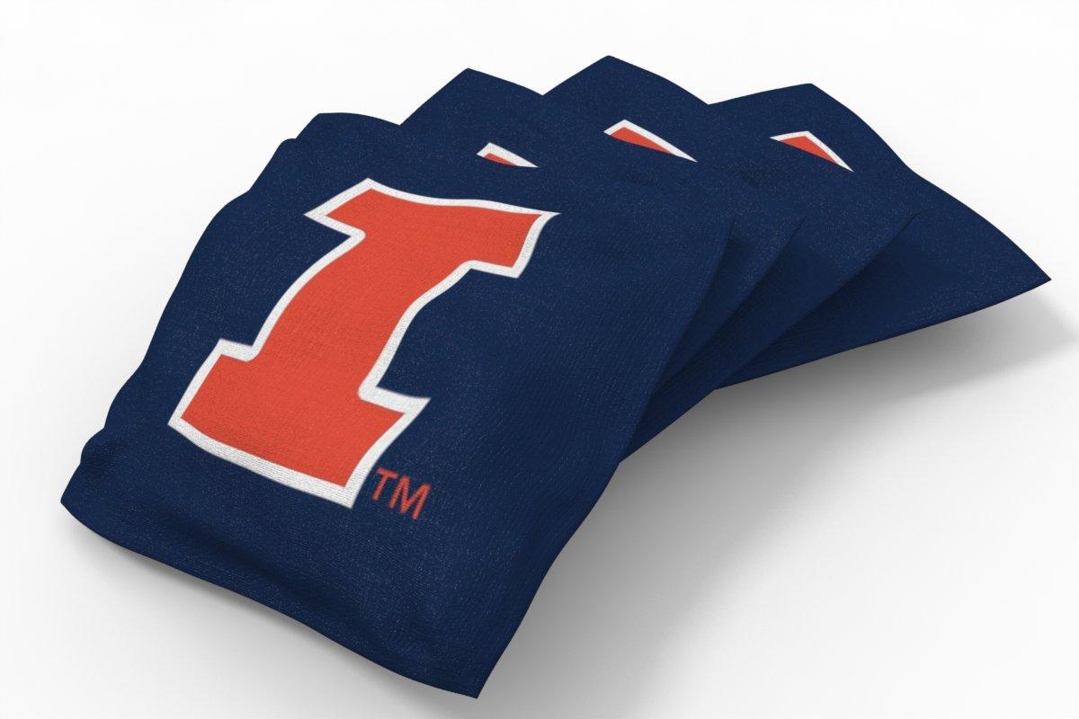 Wild Sports NCAA College Illinois Illini Blue Authentic Cornhole Bean Bag Set (4 Pack)