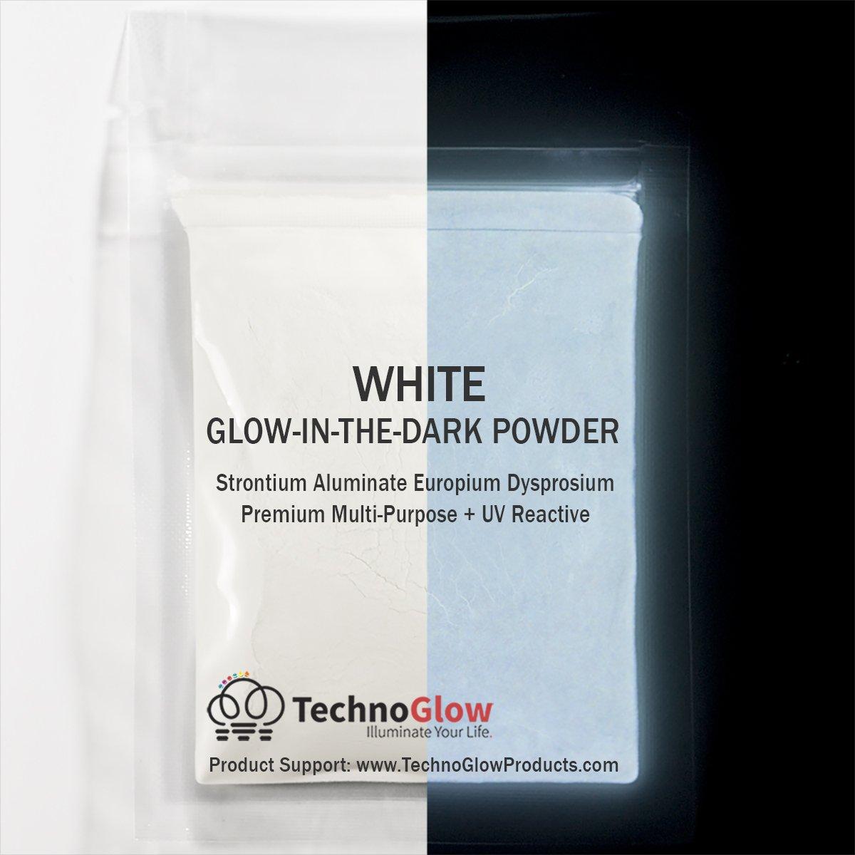 White UV/Glow in the Dark Pigment Powder- Medium 30-40 um- 500g