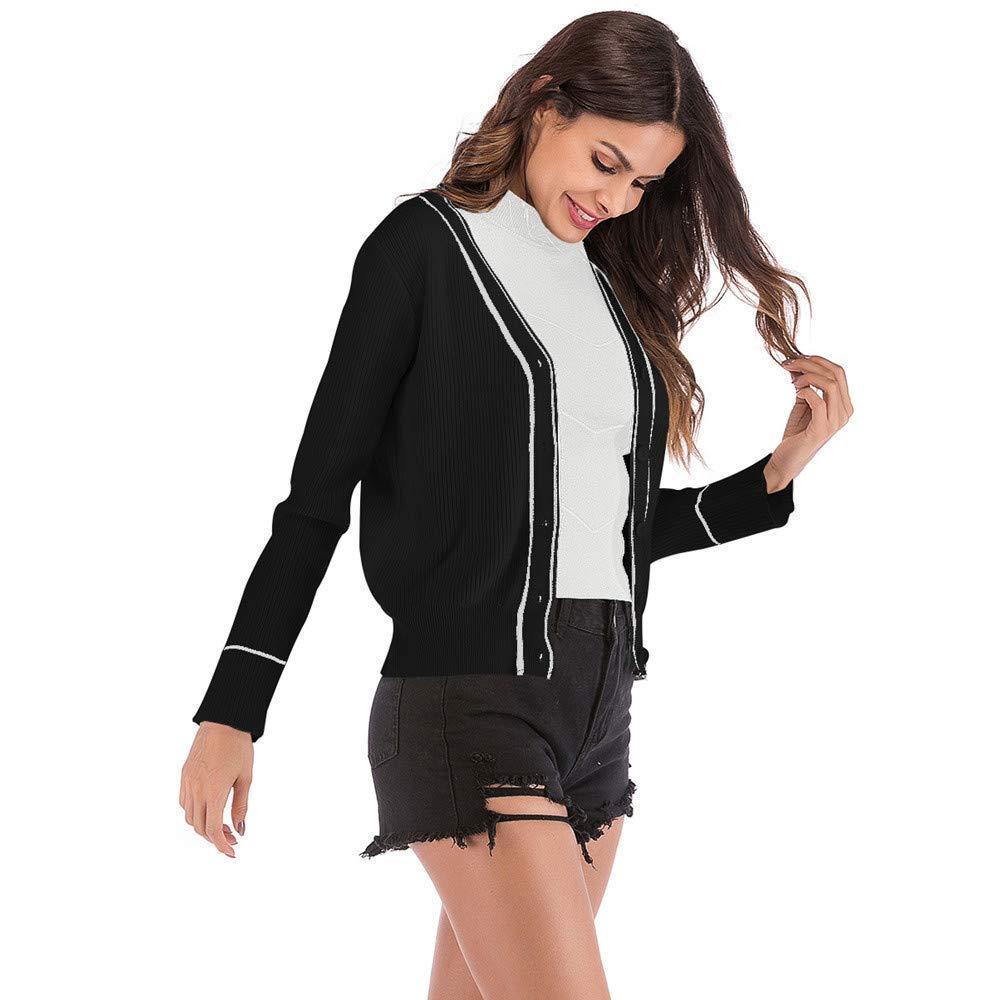 bcac2e8bda2b2 ZHRUI Manteau Outwear Veste Parka Survêtement Décontracté Veste  Décontractée pour Femmes Cardigan Rayé Bouton À Manches Longues Couture ...