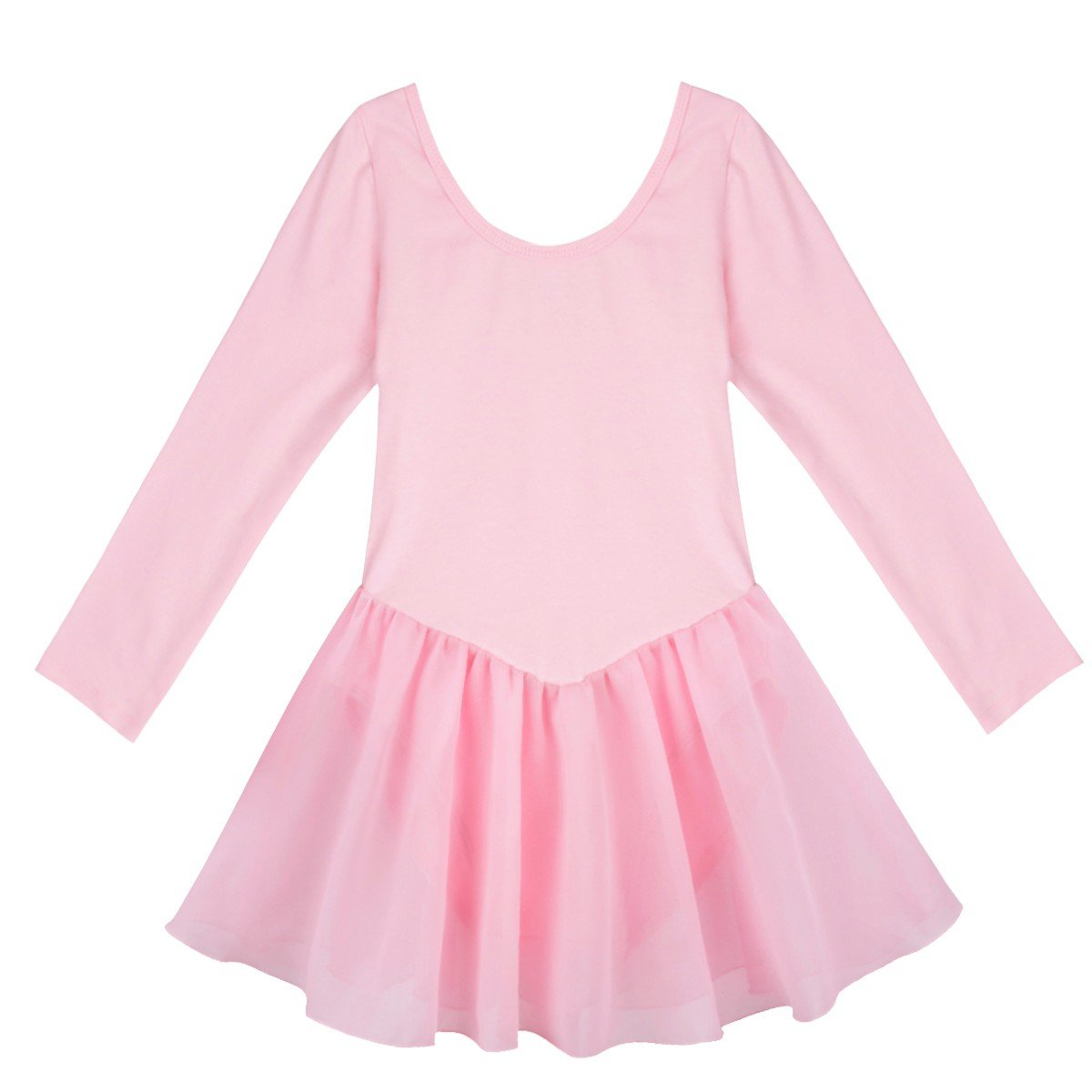 Pink FEESHOW Girls Team Basic Long Sleeve Ballet Dance Tutu Dress Gymnastics Leotard Dancewear Outfit