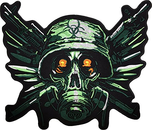 [Large Size] Papapatch Soldier Skull Gas Mask Gun and Knife Weapon Head Jacket Vest Costume Embroidered Sew on Iron on Patch (IRON-GAS-MASK-SOLDIER-SKULL-LARGE)