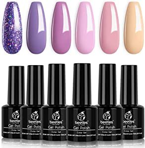 Beetles Gel Nail Polish Set, Lucky Lavendar Collection Purple Lilac Glitter Nude Pink Nail Lacquer Kit Nail Art Salon Manicure at Home, 7.3ml Each Bottle
