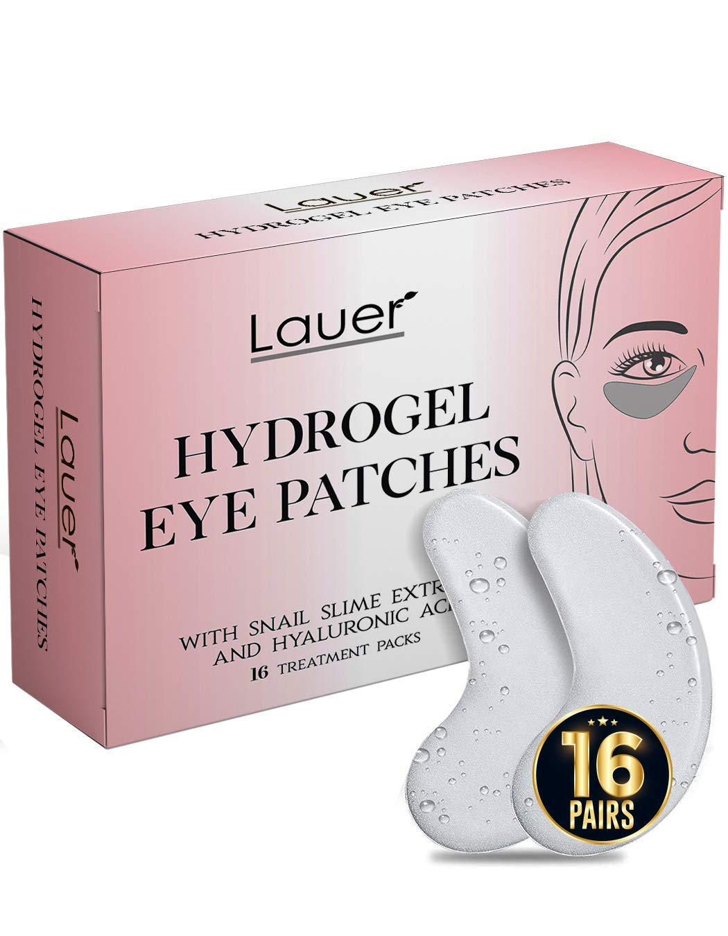 Lauer Under Eye Bags Treatment Patches  Eye Mask with Hyaluronic acid and SNAIL Slime Extract  Puffy