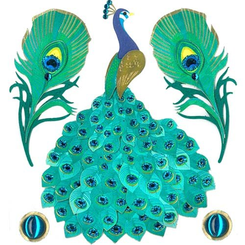 Jolee's Boutique Dimensional Stickers - Peacock