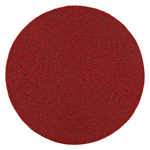 Red Indian Handmade Beaded Placemat – 14 Inches Place Mat for Fine Dining