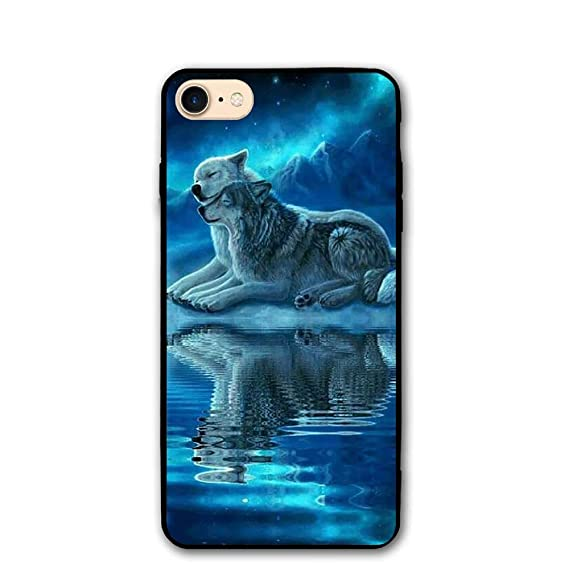 cheap for discount 0a777 1f442 Amazon.com: iPhone 8 Case, iPhone 7 Case,Couple Wolf Protective ...