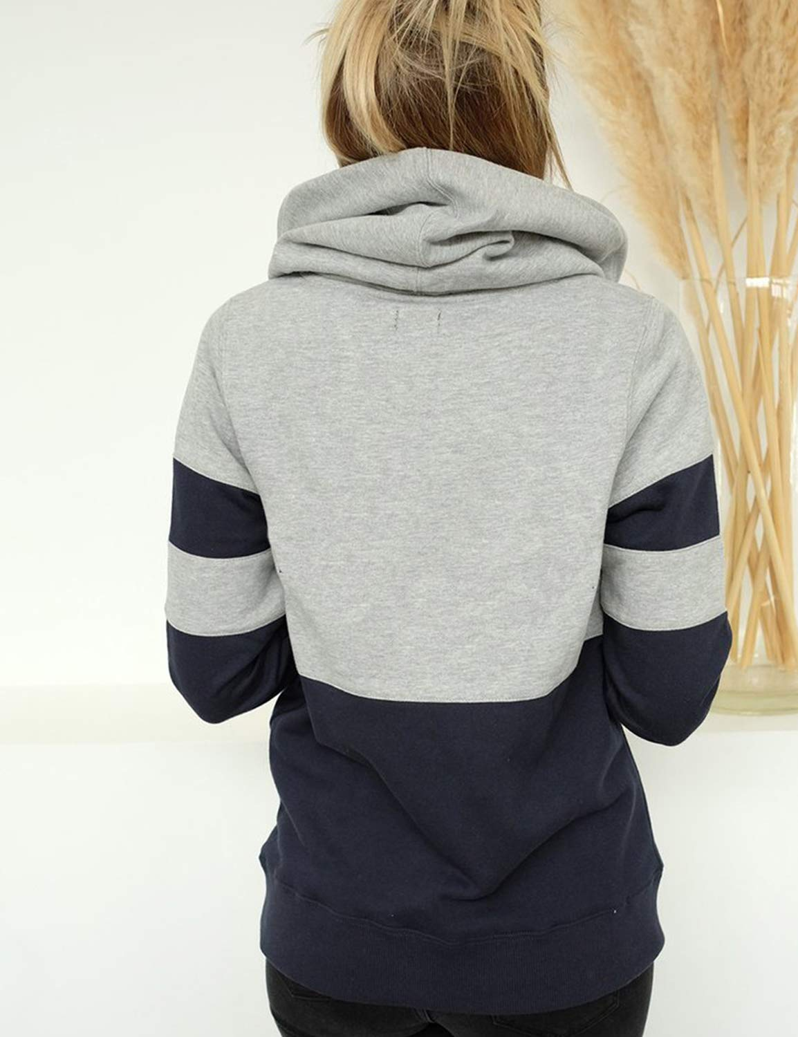 Blooming Jelly Women\'s Casual Pullover Hoodies Striped Color Block Long Sleeve Shirt Hooded Crewneck Sweatshirts Top(L, Navy Blue)