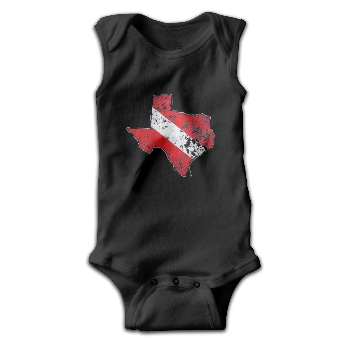 Texas Scuba Dive Flag Map Smalls Baby Onesie,Infant Bodysuit Black