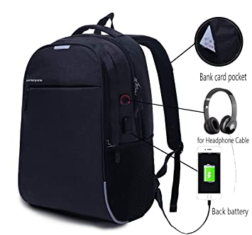 YGJT Mochila de Portátil Mochila Hombre con Puerto de USB para Ordenador hasta 15,6 Pulgada Bolsas para Portátil Impermeable para Diario Negocio ...