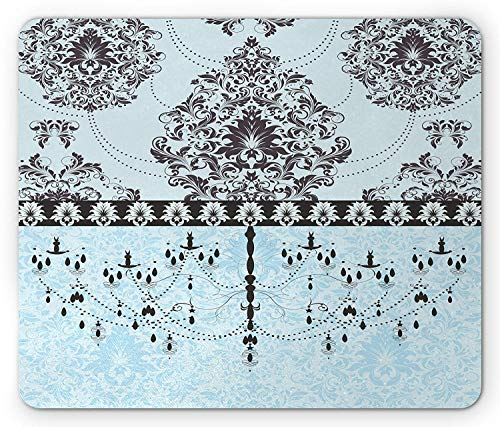 Flower Mouse Pad, Vintage Invitation Card with Black Flowers Leaves Ribbon and Chandelier Print, Standard Size Rectangle Non-Slip Rubber Mousepad, Pale Blue Black