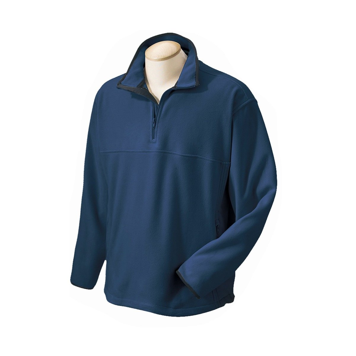 Chestnut Hill Mens Navy Fleece 1/4 Zip Pullover Sweatshirt Jacket with Pockets