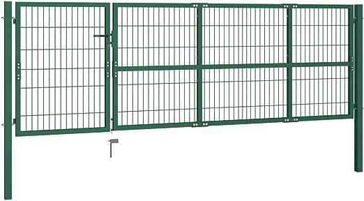 vidaXL Puerta de Valla de Jardín con Postes 350x100 Acero Verde Cancela Cerca: Amazon.es: Jardín