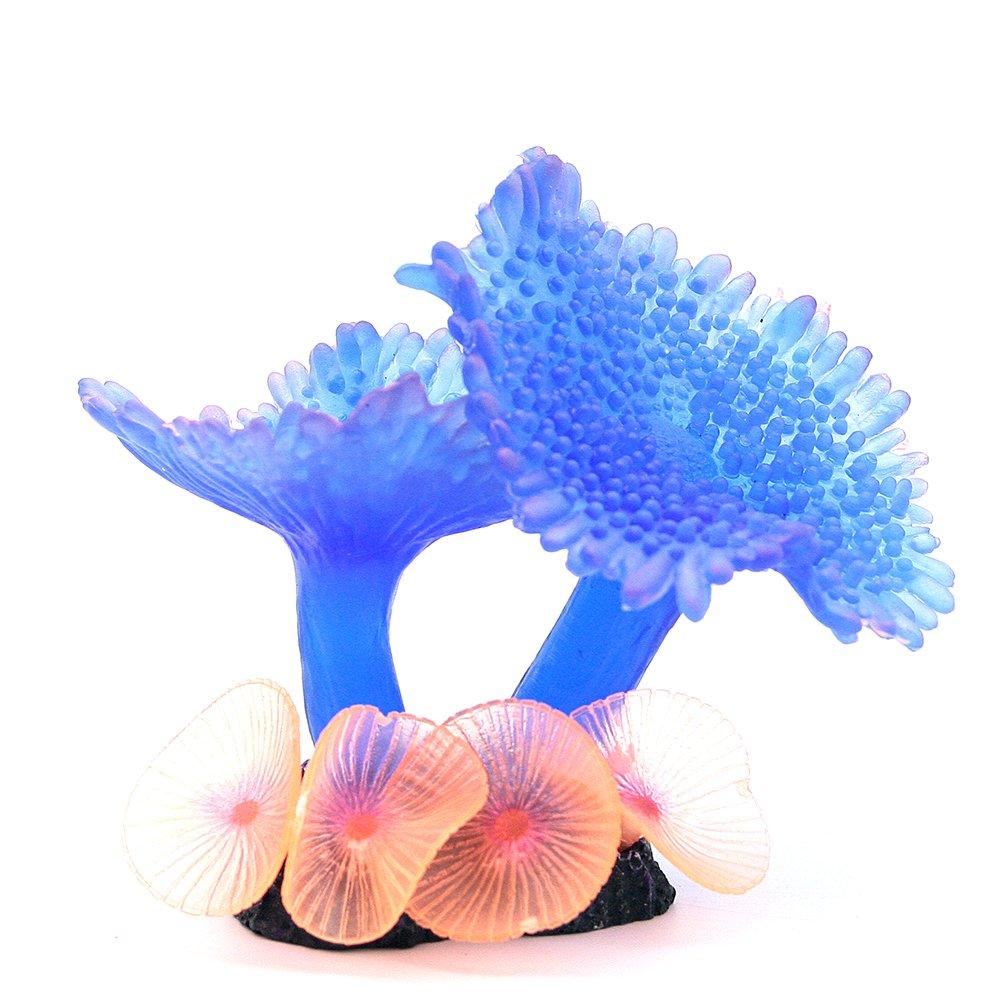 Good Cool Silicone Aquarium Fish Tank Ornament Artificial Umbrella Coral Plant Underwater Decor(Blue)