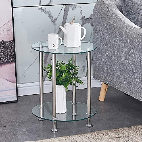 4HOMART Round End Table Glass Side Table