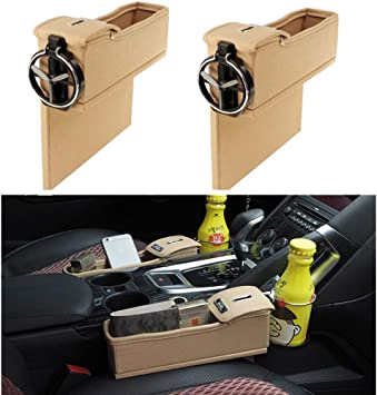 NEW POWER WYYINLI Premium PU Leather Side Pocket Organizer Car Seat Filler Gap Space Storage Box Bottle Cup Holder Coin Collector Car Interior Accessories 2PCS Red with Charger