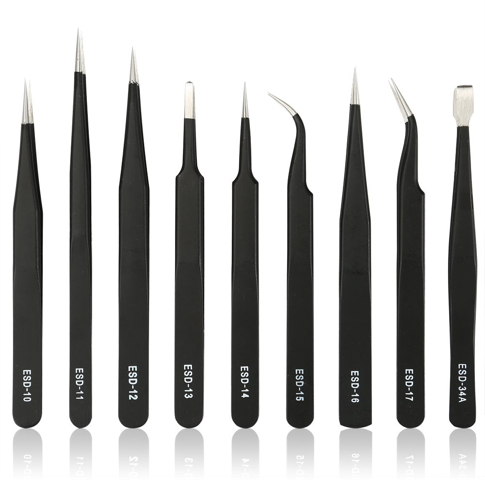 Kingdun 9pcs Stainless steel Tweezer Set,Anti-static ESD Tweezers with Non Magnetic Tips for Electronics Repair, Soldering, Crafting and Jewelry