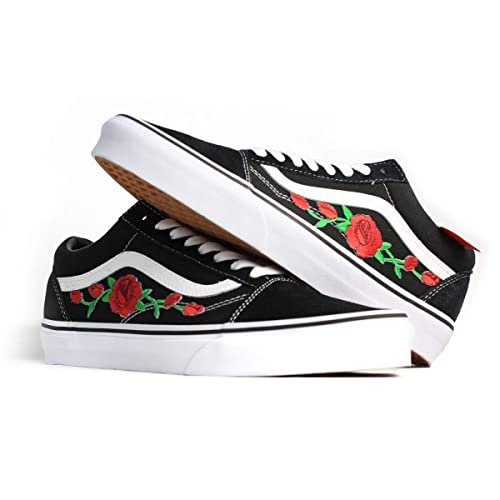 Amazon.com  Vans Red Old Skool Embroidered Red Rose Custom Handmade Shoes  By Patch Collection  Handmade 68b7effe9b