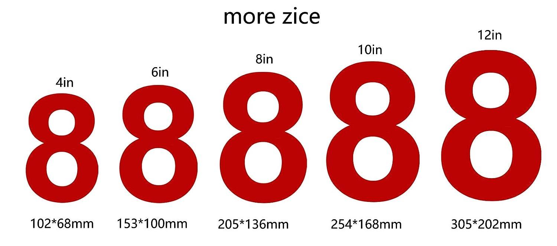 nanly N/úmero de casa moderna-ROJO 20.5cm//8 -Acero inoxidable Apariencia flotante F/ácil de instalar y hecho de acero inoxidable s/ólido 8in N/úmero 5
