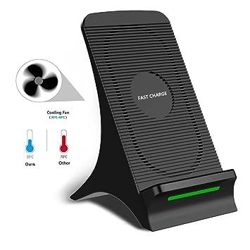 ConPush Qi Cargador inalámbrico con Ventilador Wireless ...