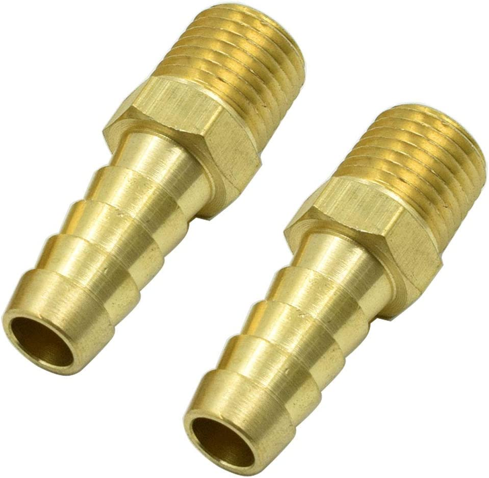 """5PCS 3//8/"""" Male Brass Hose Barb To 1//4/"""" NPT Pipe Male Thread"""