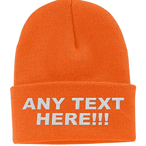 - Design Your Own Knit Cap, Custom Text, Personalized Beanie, Embroidered with Color Choices (Neon Orange)