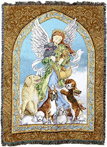 Pure Country Weavers - Guardian Angel and Dogs Woven Tapestry Blanket with Fringe Cotton USA 72x54
