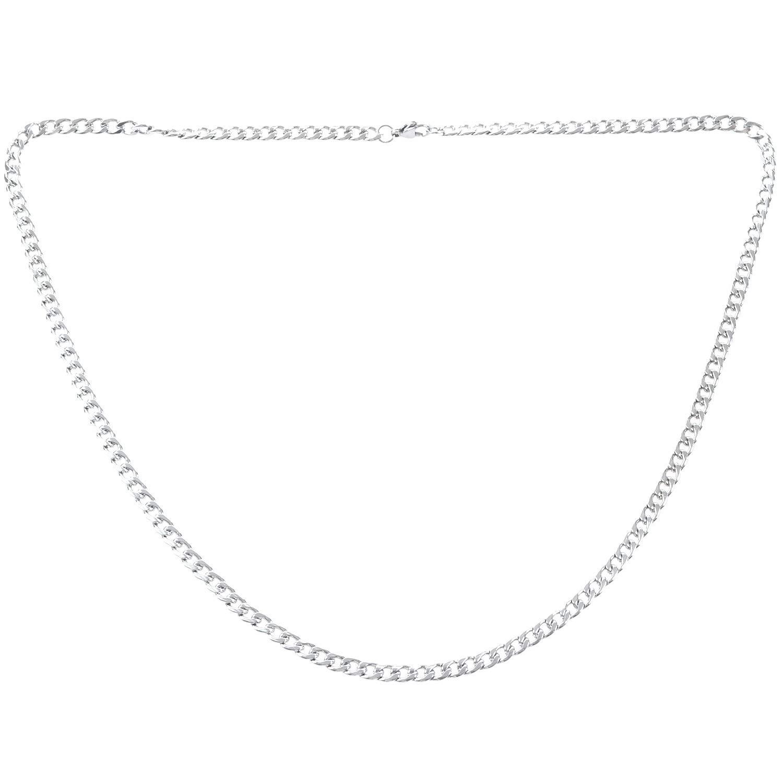 Longitud 60 cm Collar de Cadena coraza de Figaro de Acero Inoxidable Naliovker Cadena de Hombres de joyeria Plata Ancho 5 mm