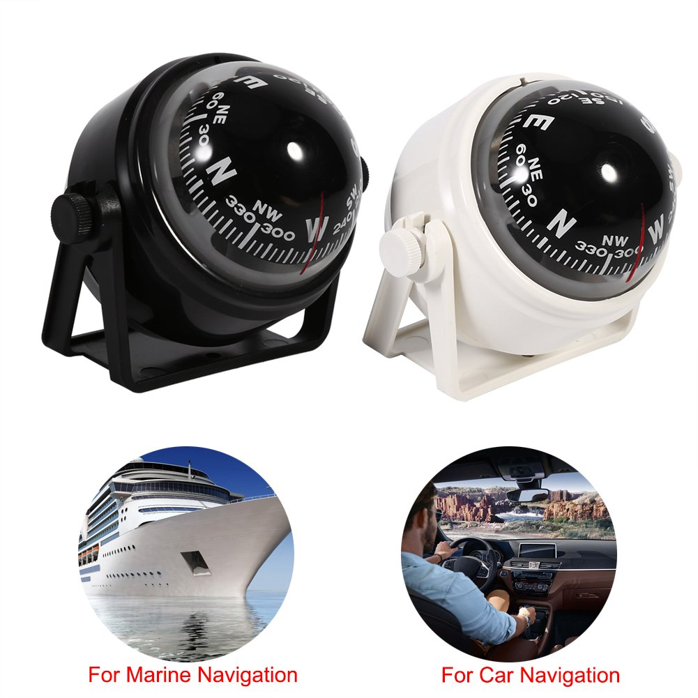 Estink Car Mount Compass,Multi-functional Sea Marine Navigation Bracket Mount Compass Voyager Compass Outside Also Fits Boat Caravan Truck Black