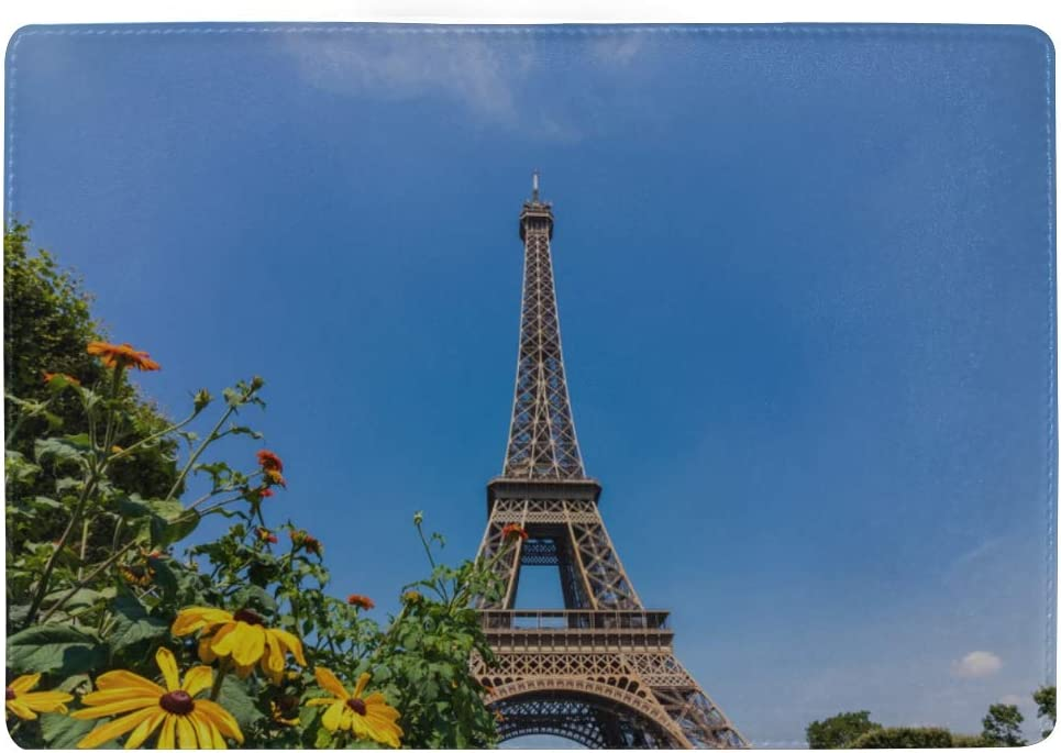 Eiffel Tower In Paris France Symbol Blocking Print Passport Holder Cover Case Travel Luggage Passport Wallet Card Holder Made With Leather For Men Women Kids Family