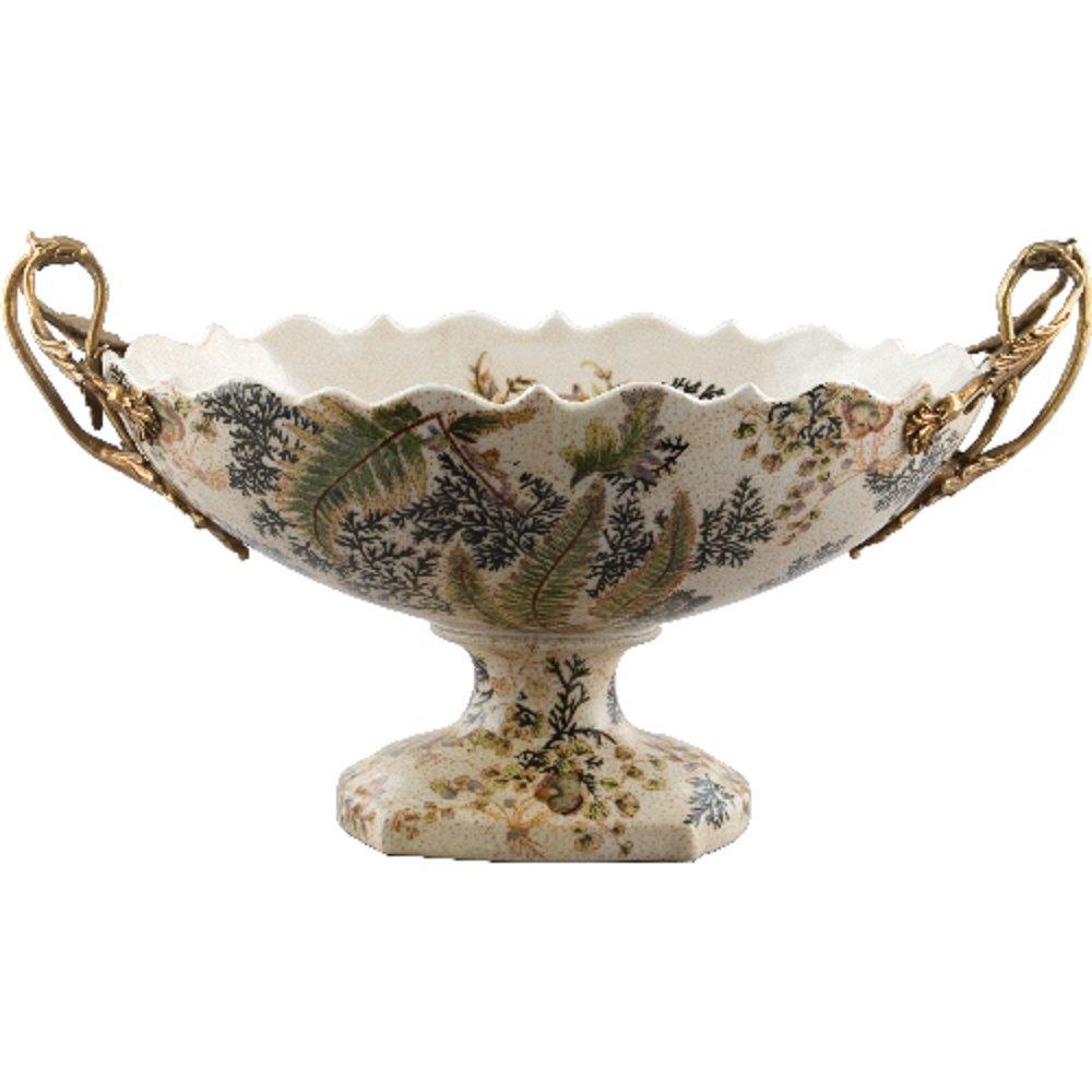 Home decor. Centerpiece Bowl With Bronze. Dimension: 15 x 8 x 7. Pattern: Moss Fern.