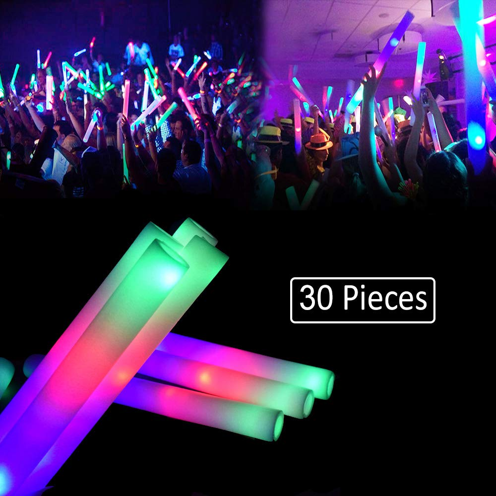LifBetter Seerootoys 30 PCS Foam Glow Sticks Flashing Multicolor Led Foam Stick Bulk for Party Supplies Festivals Raves Birthdays