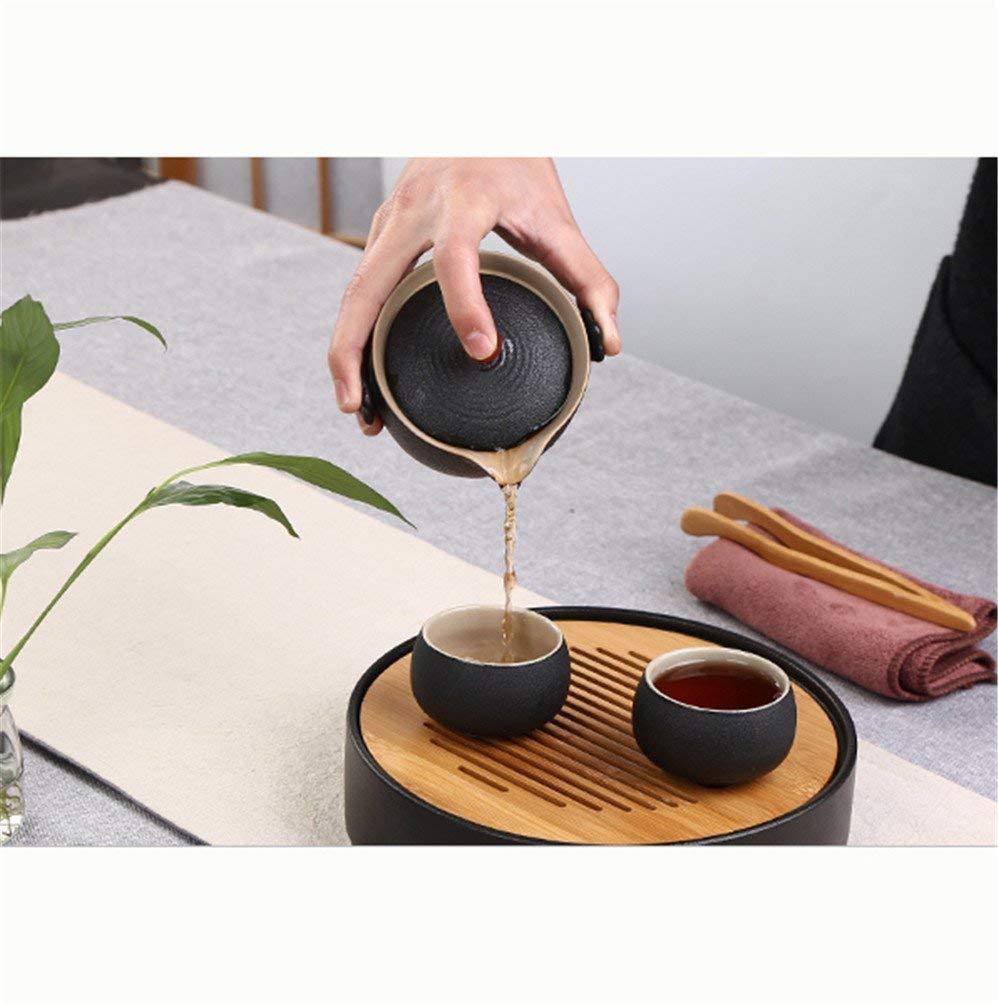 Kinue Exquisite Tea Cups Saucers Set Set Coffee Cup Tea Set Agate one Pot Two Cups Portable Travel Tea Set high-end Gift, Peach (Color : Peach Blossom) by Kinue (Image #2)