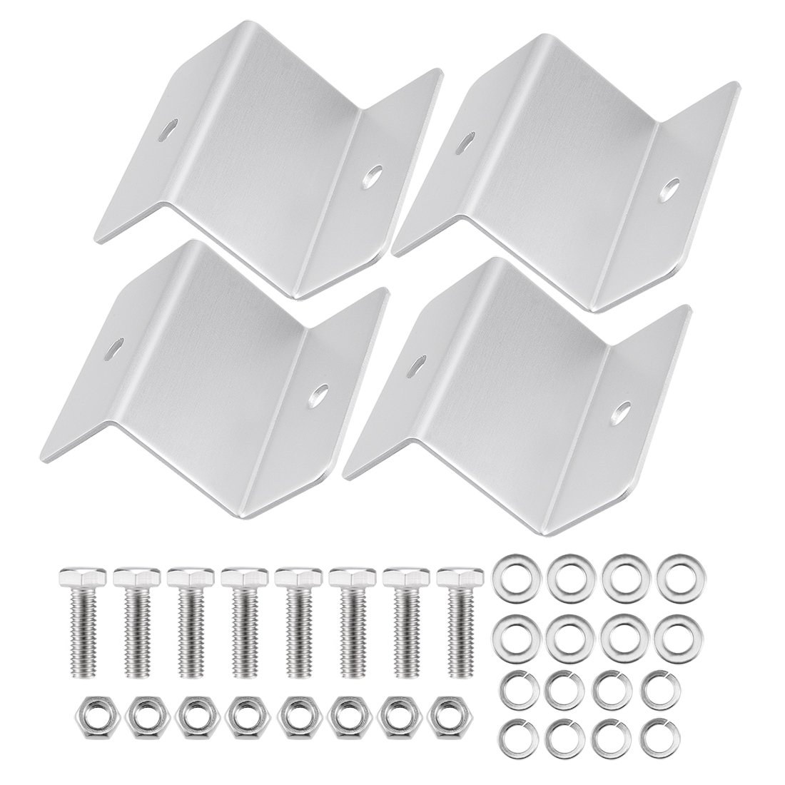 Sourcingmap ZB-01 Silver Tone Solar Panel Mounting Z Bracket Set for Yacht/Solar Panel a17091500ux0365