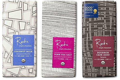 Raaka Best Sellers Trio (1.8oz Bars - 3 Pack), Organic, Kosher Craft Artisan Chocolate, Vegan, Gluten and Soy Free, Gourmet, Bean-to-Bar Dark Chocolate - Great Gift for Chocolate Lovers Aged Chocolate Candy