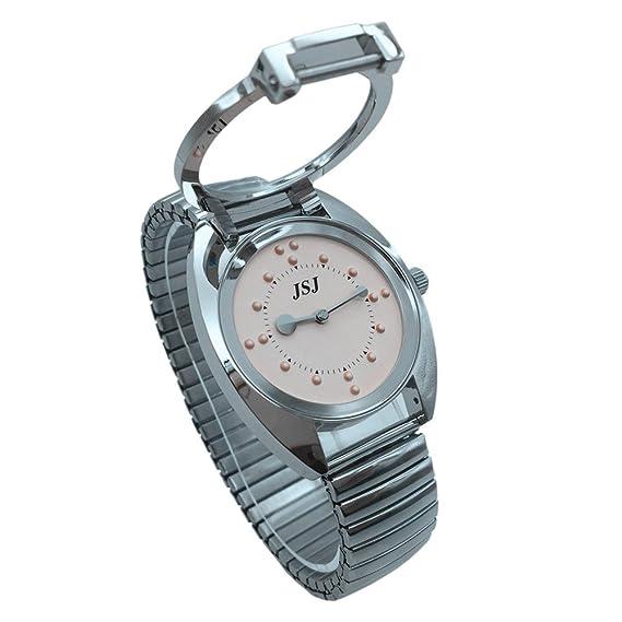 Reloj De Pulsera Braille para Invidentes o Personas Mayores (Rosa Dial, Banda Expandible Acero