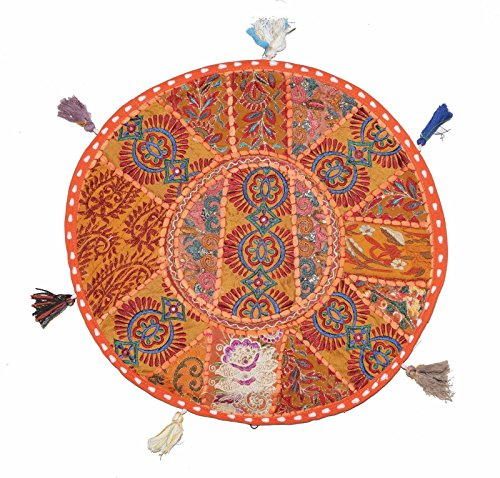 Round Floor Pillow Cushion Bohemian Patchwork Pouf Ottoman Vintage Indian Foot Stool Bean Bag Floor Pillow Cover Home Decor, Living Room Ottoman, Bohemain Pillows 18 Inch (Orange)